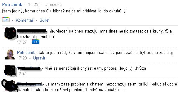 Google+ dnes nějak blbne